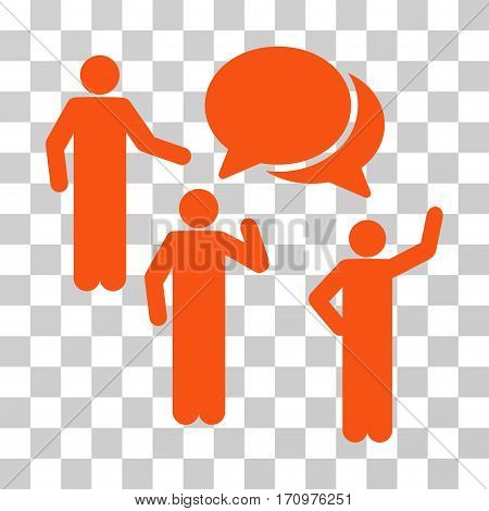 Forum icon. Vector illustration style is flat iconic symbol orange color transparent background. Designed for web and software interfaces.