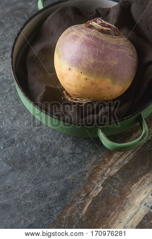 Ripe Purple Turnips With Green Leaves. Grey Stone Background.