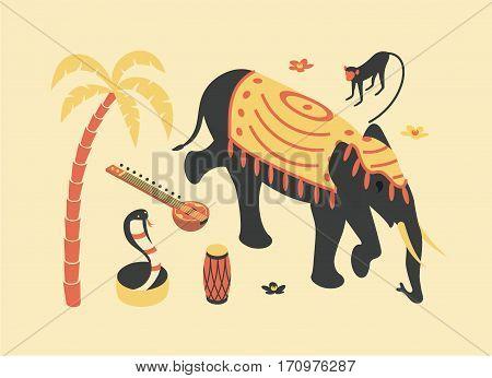 India, vector flat isometric illustration, 3d icon set: palm tree, sitar, monkey, elephant, lotus flower, snake cobra drum beach