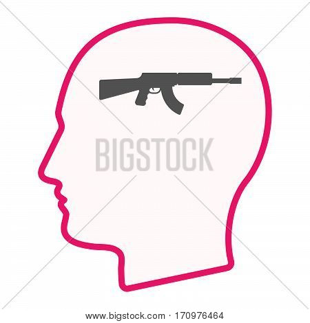 Isolated Male Head With  A Machine Gun Sign