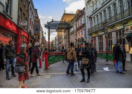 LONDON, GREAT BRITAIN - MAY 9, 2014: This is modern London's Chinatown which is located in the entertainment quarter of Soho.