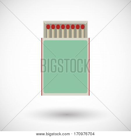 Matchbox icon. Flat design of matches in box with round shadow. Vector illustration