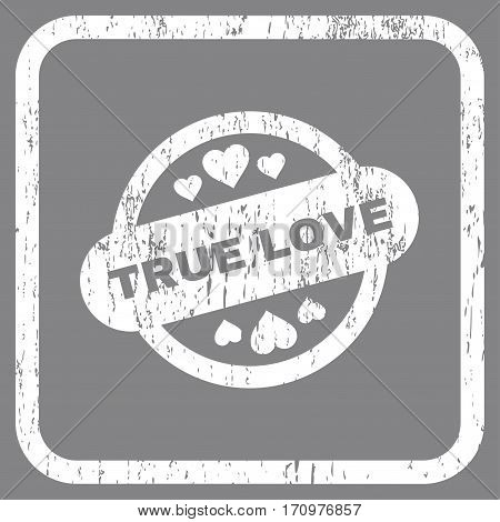 True Love Stamp Seal rubber watermark. Vector pictogram symbol inside rounded rectangular frame with grunge design and scratched texture. Stamp seal illustration.