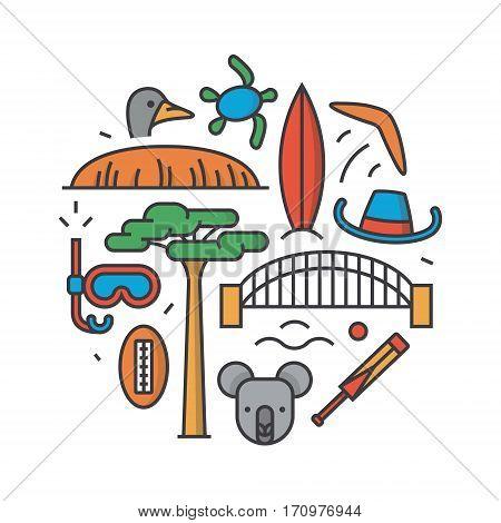 Australia, vector outline illustration, pattern, white background: boomerang, hat, serf, bridge cricket koala tree Baobab sport mountain Uluru ostrich