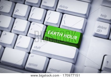 Earth Hour On Green And White Keyboard Button