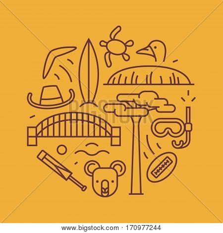 Australia, vector outline illustration, pattern. boomerang, hat, serf, bridge cricket koala tree Baobab sport mountain Uluru ostrich
