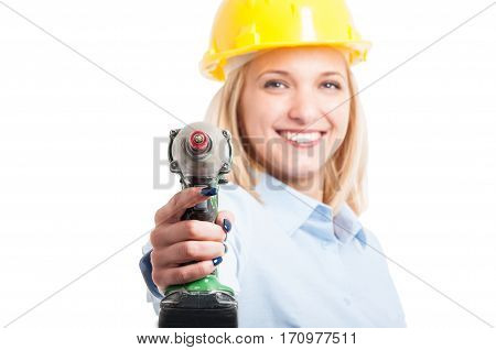 Selective Focus Woman Engineer Pointing At Camera Drill