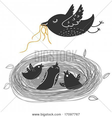 Nestlings in nest . Cartoon vector