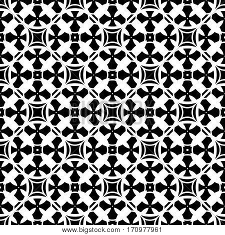 Vector ornamental seamless pattern. Monochrome black & white abstract background. Repeat mosaic texture in oriental style, illustration of lattice. Simple geometric figures, crosses. Square design element