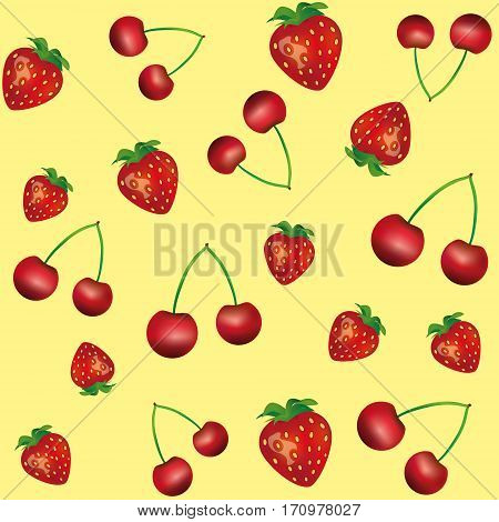 Pattern with cherry and strawberry on yellow background seamless pattern