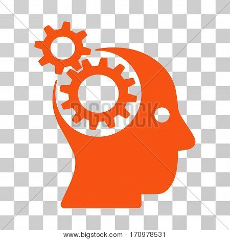 Intellect Gears icon. Vector illustration style is flat iconic symbol orange color transparent background. Designed for web and software interfaces.