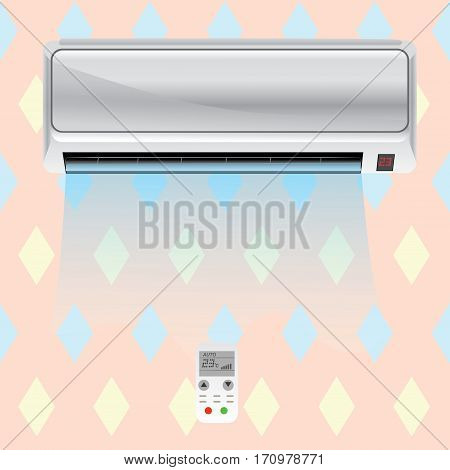 Working air conditioner on the wall in the room with remote controller. Vector illustration.