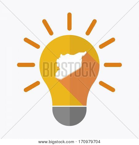 Isolated Light Bulb With  The Map Of Syria