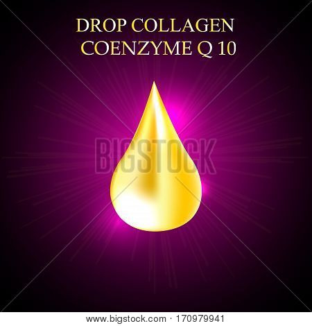 Supreme collagen oil drop essence. Premium gold shining serum droplet. Co enzyme Vector illustration.