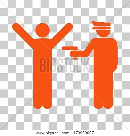 Police Arrest icon. Vector illustration style is flat iconic symbol orange color transparent background. Designed for web and software interfaces.