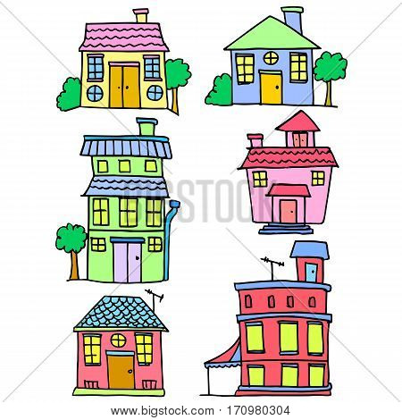 Vector illustration of house set style collection stock