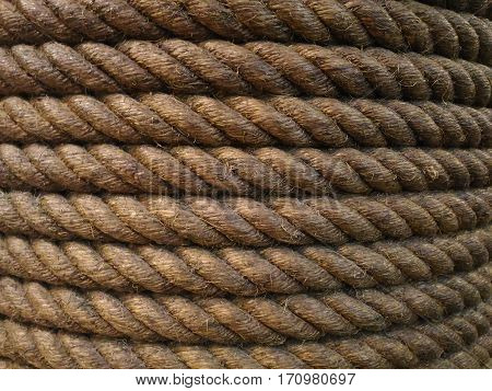 the brown jute rope closeup background texture