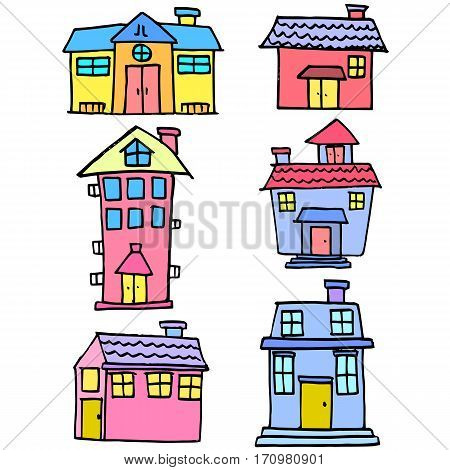 Vector art of house set various collection stock