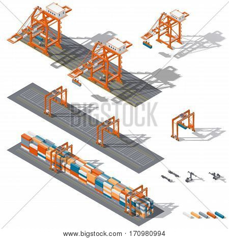 Sea container terminal. Ship-to-shore and storage containers zone which is represented the work rtg and sts cranes and related equipment terminal tractors and container handler isometric icon set vector graphic illustration design