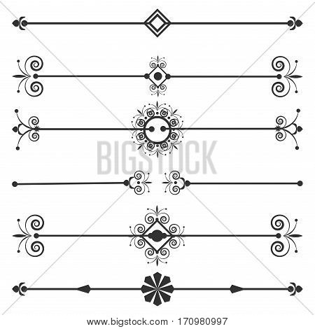 Collection of vector invitation page dividers. Menu classic elegance dividers decorative design ornament. Vector line decorative dividers ornate decoration calligraphy text shape.