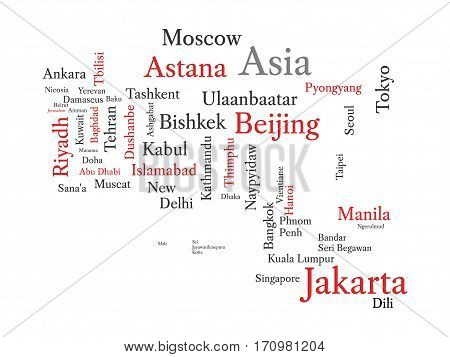 Conceptual Asian map in black and red font isolated on white. Vector illustration.