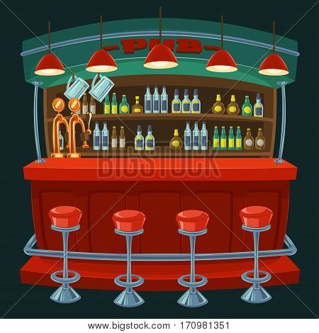 Vector cartoon illustration of the interior of the pub with a bar counter and seats