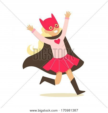 Girl Pretending To Have Super Powers Dressed In Pink Superhero Costume With Black Cape And Cat Mask Smiling Character. Halloween Party Disguised Kid In Comics Hero Outfit Vector Illustration.