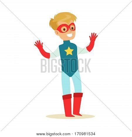 Boy Pretending To Have Super Powers Dressed In Blue Superhero Costume With Star And Mask Smiling Character. Halloween Party Disguised Kid In Comics Hero Outfit Vector Illustration.