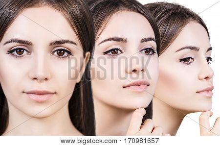 Beautiful sensual woman faces over white background