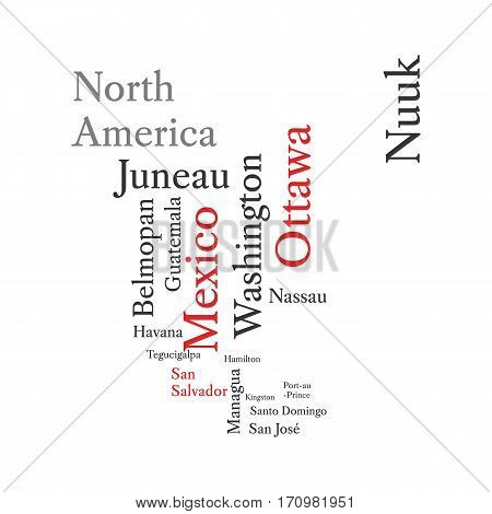 Conceptual North American map in black and red font isolated on white. Vector illustration.