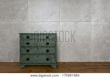 Antique wooden furniture against wall of marble blocks and on hardwood flooring. 3d Rendering.
