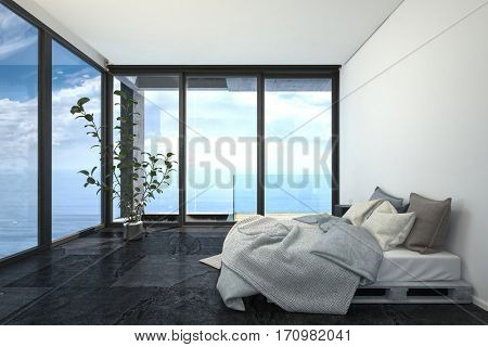 Hotel or penthouse bedroom in minimalist interior design, with bed on wooden trays, white walls, black floor and blue sea behind panoramic floor-to-ceiling windows. 3d rendering.