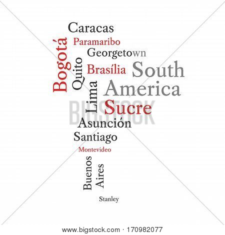Conceptual South American map in black and red font isolated on white. Vector illustration.