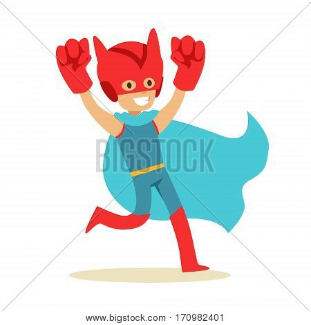 Boy Pretending To Have Super Powers Dressed In Superhero Costume With Blue Cape And Giant Fists Smiling Character. Halloween Party Disguised Kid In Comics Hero Outfit Vector Illustration.