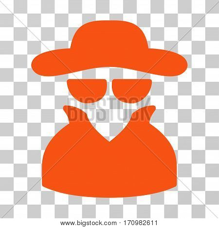 Spy icon. Vector illustration style is flat iconic symbol orange color transparent background. Designed for web and software interfaces.