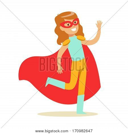 Girl Pretending To Have Super Powers Dressed In Blue And Yellow Superhero Costume With Red Cape And Mask Smiling Character. Halloween Party Disguised Kid In Comics Hero Outfit Vector Illustration.