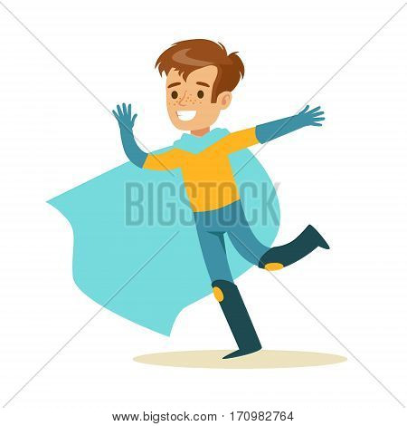 Boy Pretending To Have Super Powers Dressed In Superhero Costume With Blue Cape Running Smiling Character. Halloween Party Disguised Kid In Comics Hero Outfit Vector Illustration.
