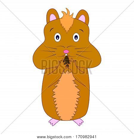 Vector illustration of cute cartoon hamster eating nut.