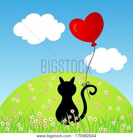 Scalable vectorial image representing a cat with heart balloon in the mountain.