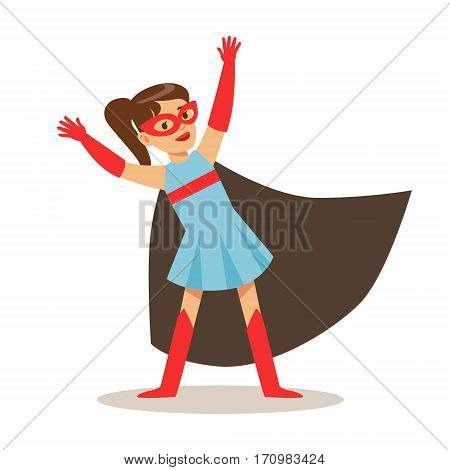Girl In Blue Dress Pretending To Have Super Powers Dressed In Superhero Costume With Black Cape And Mask Smiling Character. Halloween Party Disguised Kid In Comics Hero Outfit Vector Illustration.