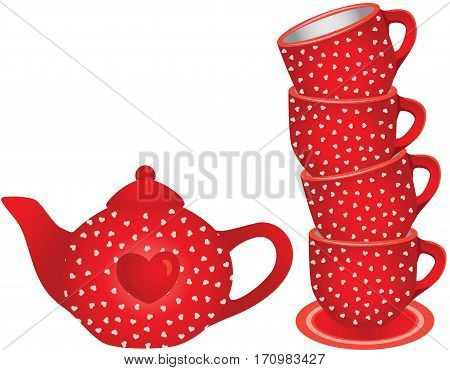 Scalable vectorial image representing a stack of red tea cups and teapot with hearts, isolated on white.
