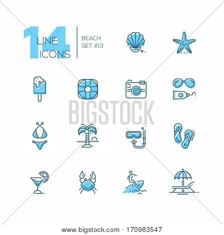 At the Beach - modern vector line design icons set with accent color. Seashell, sea star, ice cream, life ring, camera, sun glasses, sunscreen, swimwear, palm tree, snorkel, sandshoes, cocktail crab surfing lounge chair. Material design concept symbols