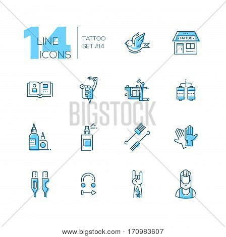 Tattoo Studio - modern vector line design icons set with accent color. Bird, storefront, sample book, tattoo machine, coils, ink, spray, needles, gloves cartridges piercing hand artist. Material design concept symbols
