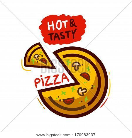 Pizza isolated on white background. Pizza food vector flat illustration.