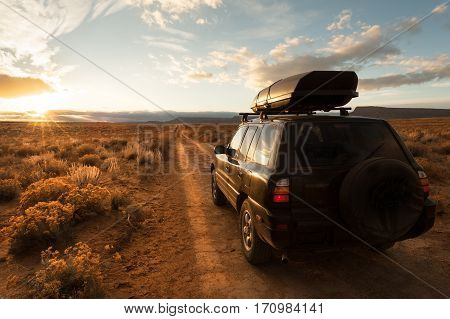 Driving unpaved road in Grand Staircase Escalante National monument, Utah