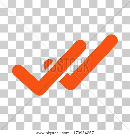 Validation icon. Vector illustration style is flat iconic symbol orange color transparent background. Designed for web and software interfaces.