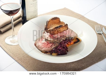 Roasted Beef Dish Dinner With Wine
