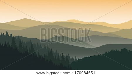 The evening at foggy mountains. Vector illustration.
