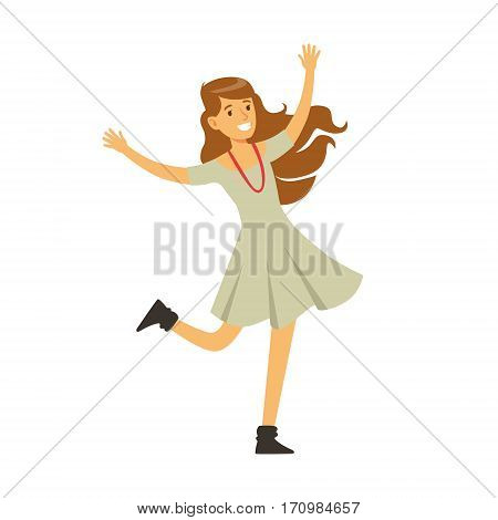 Cute Girl In Grey Dress Dancing On Dancefloor, Part Of People At The Night Club Series Of Vector Illustrations. Cartoon Character On The Night Out In Dark Music Club Having Good Time.