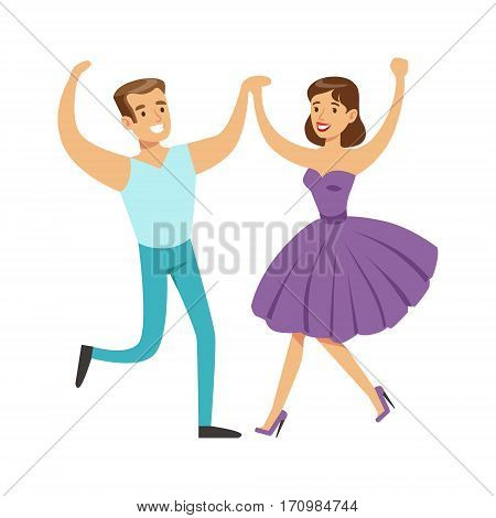 Couple In With Woman In Fancy Dress Dancing On Dancefloor, Part Of People At The Night Club Series Of Vector Illustrations. Cartoon Character On The Night Out In Dark Music Club Having Good Time.
